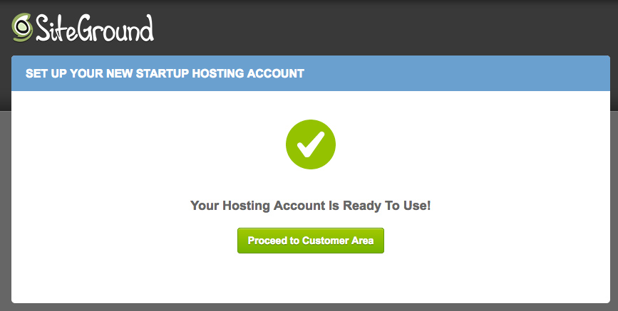 Hosting account is ready to use