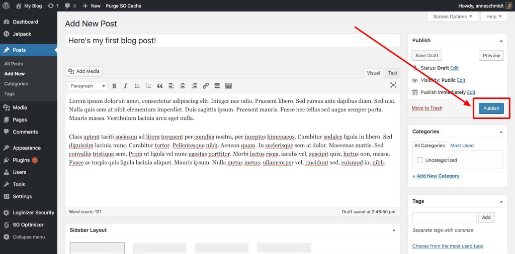 Post publish button