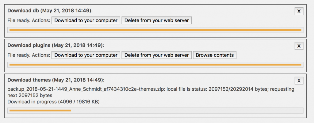 File preparation status bars