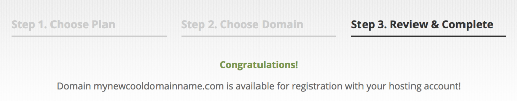 Congratulations, your domain name is available