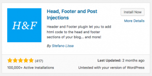 Head, Footer and Post Injections plugin