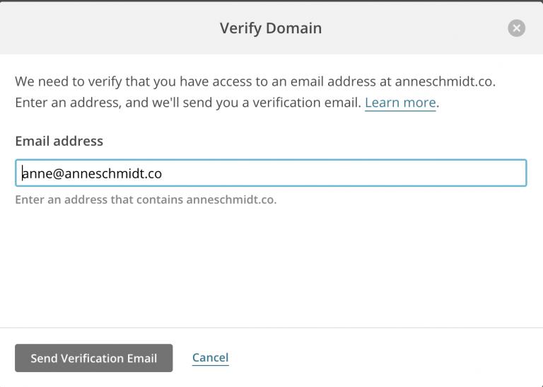 Verify Domain popup
