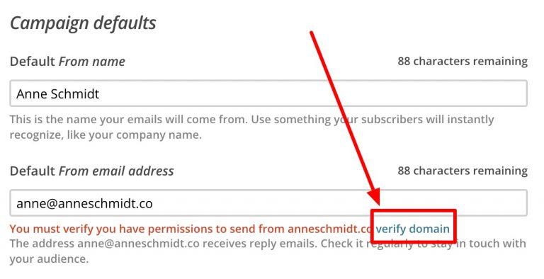 Verify domain link