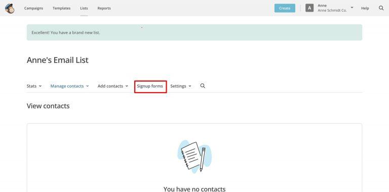 signup form link